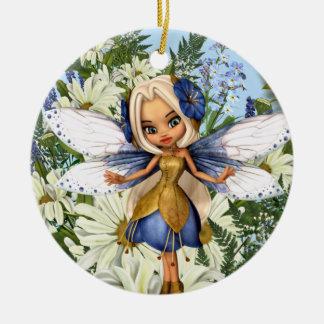 Summer Daisy Blue Fae Ceramic Ornament