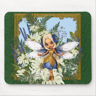 Summer Daisy Blue Fae Mouse Pad