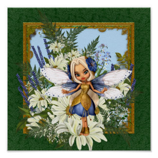 Summer Daisy Blue Fae Poster