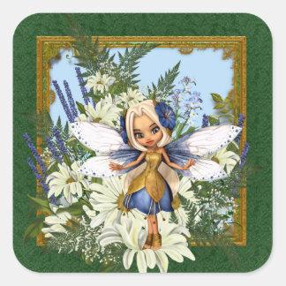 Summer Daisy Blue Fae Square Sticker