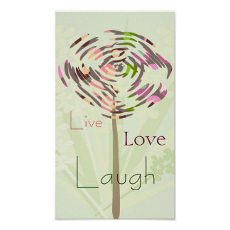 Summer dandelion, live, love, laugh. Customize Poster