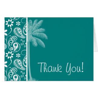 Summer Dark Cyan Paisley; Floral Card