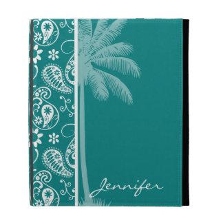 Summer Dark Cyan Paisley; Floral iPad Folio Cases
