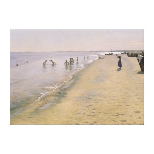 Summer Day at the South Beach of Skagen, 1884 Canvas Print