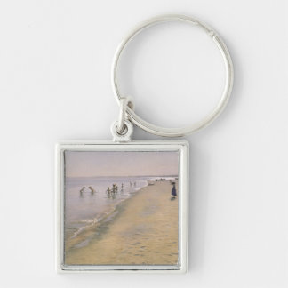 Summer Day at the South Beach of Skagen, 1884 Silver-Colored Square Keychain