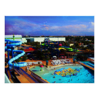 Summer Day At Waterpark in Tropical Daytona Beach Poster