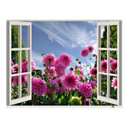 Summer Day, Dahlias in Bloom Postcard