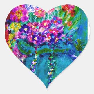 Summer Day Designer Floral Art Gift Collection Heart Sticker