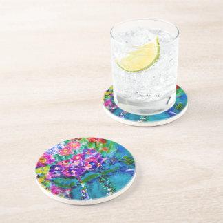 Summer Day Designer Floral Art Gift Collection Sandstone Coaster
