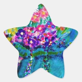 Summer Day Designer Floral Art Gift Collection Star Sticker