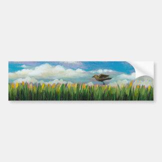 Summer day flying bird fun hopeful painting art bumper stickers