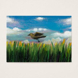 Summer day flying bird fun hopeful painting art business card