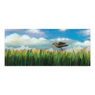 Summer day flying bird fun hopeful painting art card