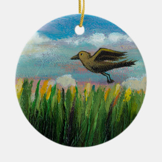 Summer day flying bird fun hopeful painting art christmas tree ornament