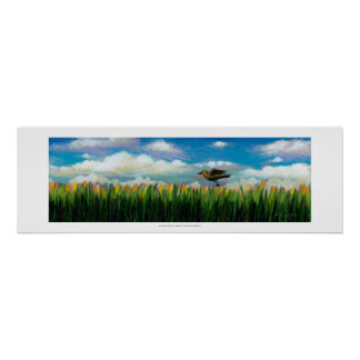 Summer day flying bird fun hopeful painting art posters