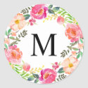 Summer Day Monogram Classic Round Sticker