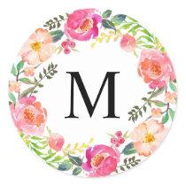 Summer Day Monogram Classic Round Sticker