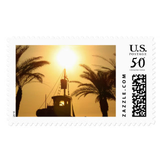 Summer Day Palms Ship Vacation Postal Stamp