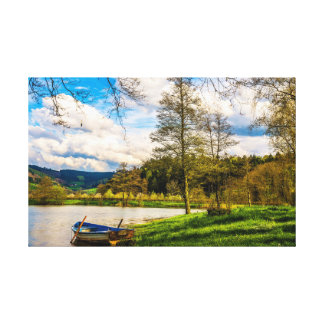 Summer Day Peaceful Boat On The Pond Canvas Print