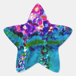 Summer Day Whimsical Designer Floral Art Gift Star Stickers