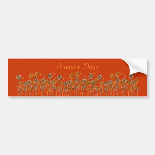 Summer Days Retro Flowers & Butterflies Bumper Sticker