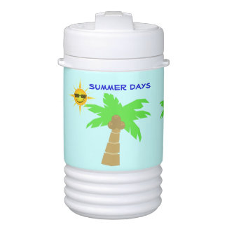 Summer Days Sun Face Tropical Island Palm Trees Igloo Beverage Cooler