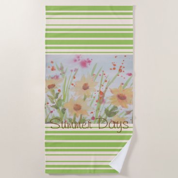 Beach Themed Summer Days Watercolor Floral Beach Towel