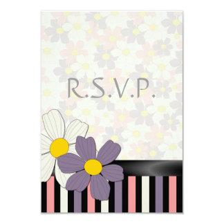 "Summer Daze Flowers & Stripes RSVP Card 3.5"" X 5"" Invitation Card"
