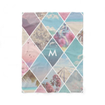 Summer Diamond Pattern Monogram Fleece Blanket