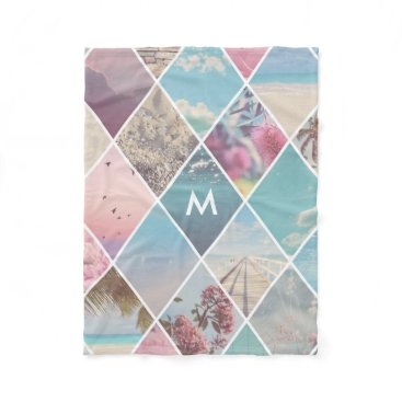 Beach Themed Summer Diamond Pattern Monogram Fleece Blanket