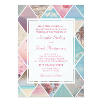 Summer Diamonds | Pink & Blue Beach Wedding Card