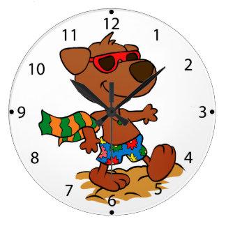Summer dog large clock
