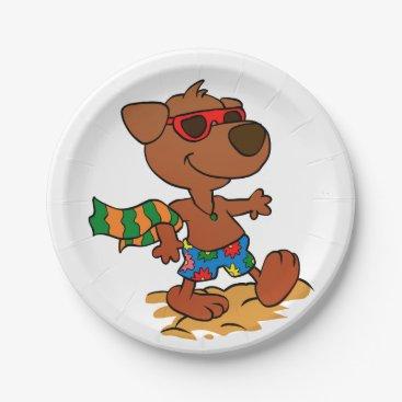 Summer dog paper plate
