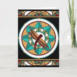 Summer Dragonfly Mandala-greeting card zazzle_card