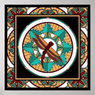 Summer Dragonfly Mandala-print