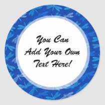 Summer Dragonfly Royal Blue Nature Lover Classic Round Sticker