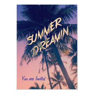 Summer Dreamin Tropical Island Palm Trees Sunrise Personalized Invite