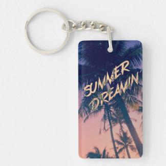Summer Dreamin Tropical Island Palm Trees Sunrise Acrylic Key Chains