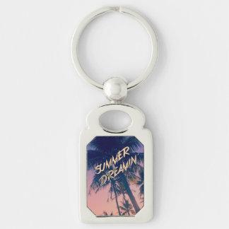 Summer Dreamin Tropical Island Palm Trees Sunrise Key Chain
