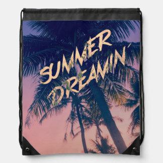Summer Dreamin Tropical Island Palm Trees Sunrise Cinch Bags