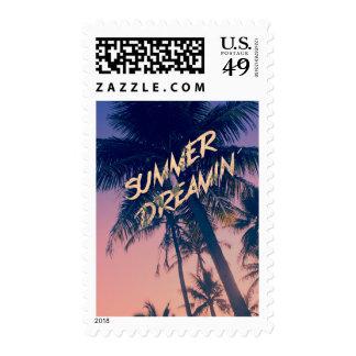 Summer Dreamin Tropical Island Palm Trees Sunrise Postage
