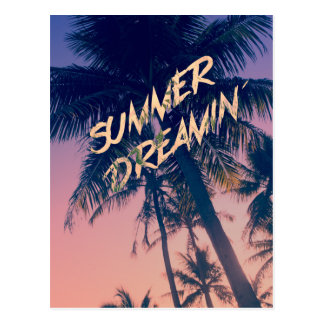 Summer Dreamin Tropical Island Palm Trees Sunrise Post Card