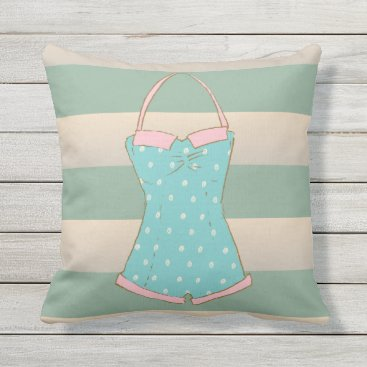 Beach Themed Summer Dreams, Cabana Stripes Outdoor Pillow