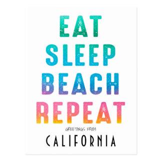 Summer Eat Sleep Beach Repeat | Greetings From Postcard