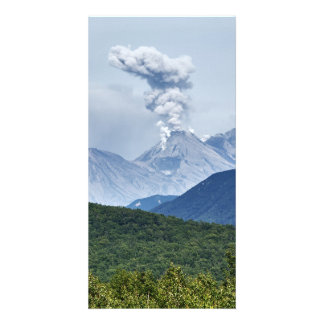 Summer eruption Zhupanovsky Volcano in Kamchatka Card