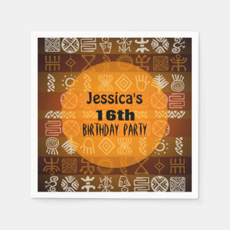 Summer Ethnic 16th Birthday Party Paper Napkins