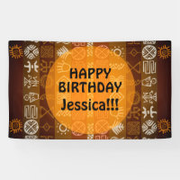 Summer Ethnic Happy Birthday custom Outdoor Banner
