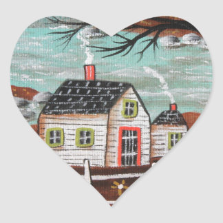 Summer Eve By The Lake Heart Sticker