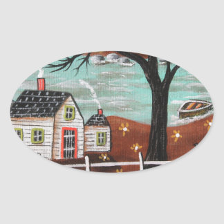 Summer Eve By The Lake Oval Sticker