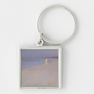 Summer evening at the South Beach, Skagen, 1893 Silver-Colored Square Keychain